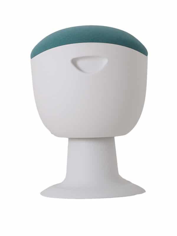 olala stoel lichtblauw wit onderstel zijkant