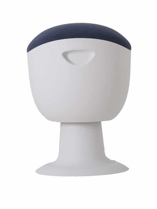 olala stoel blauw wit onderstel zijkant