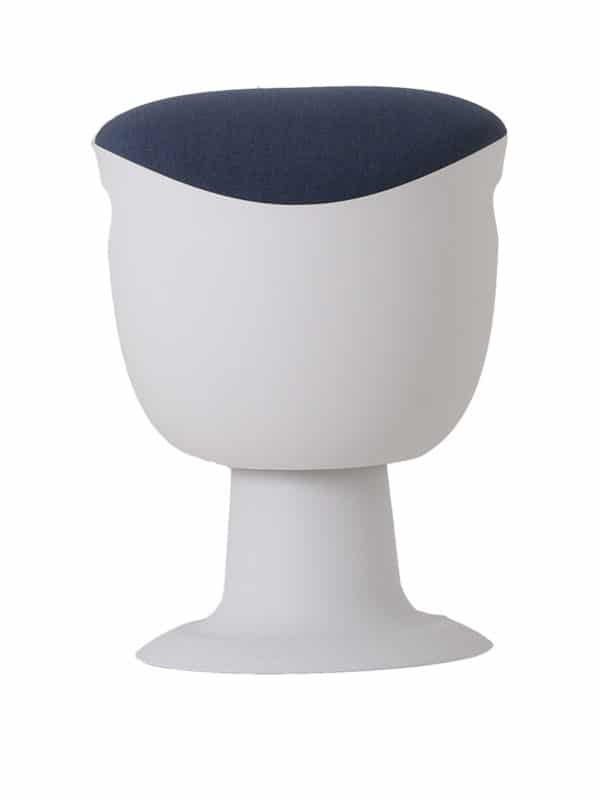 olala stoel blauw wit onderstel voorkant